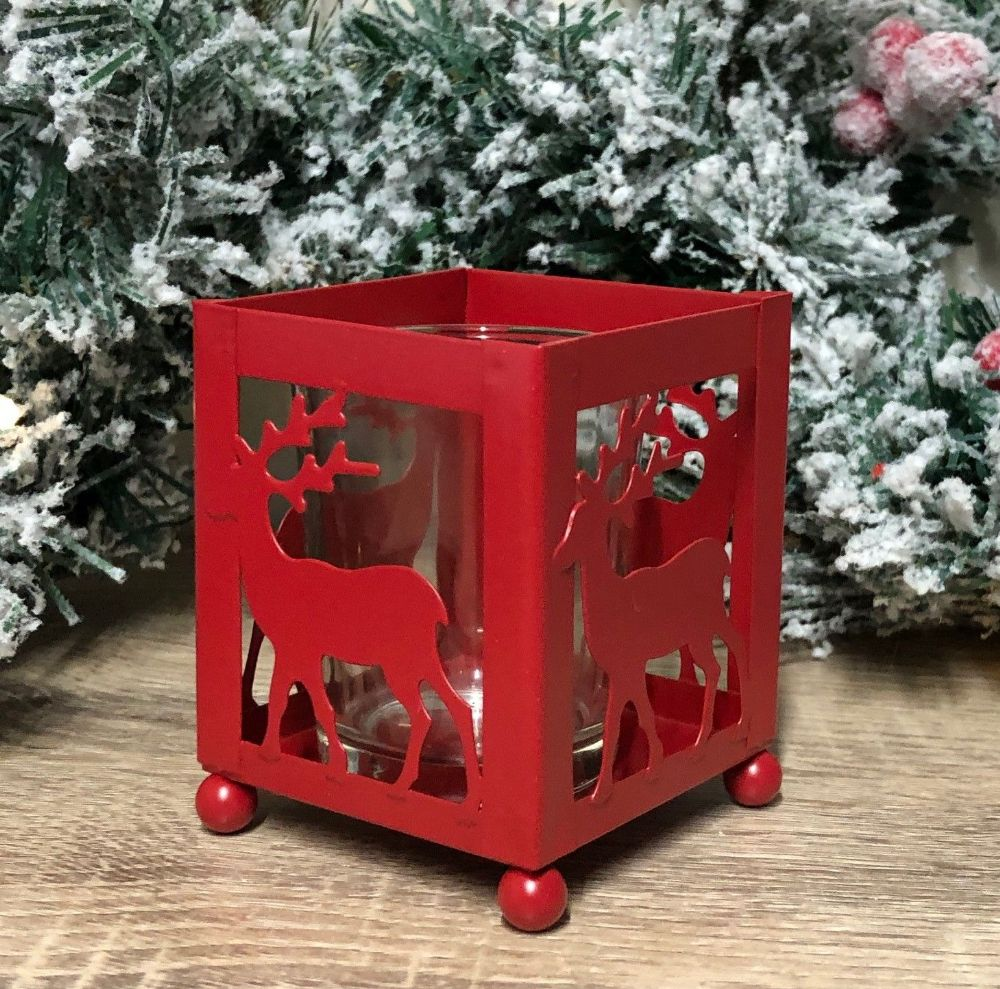Metal Red Reindeer Square Christmas Tea Light Candle Holder